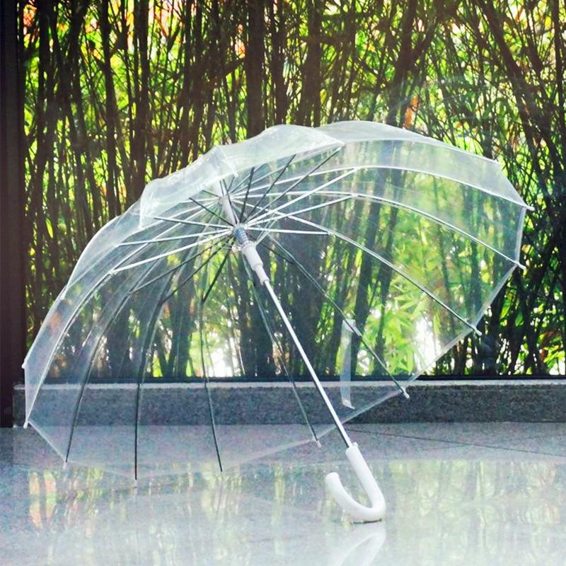 Parapluie transparent semi-automatique contre le vent et la pluie Long manche